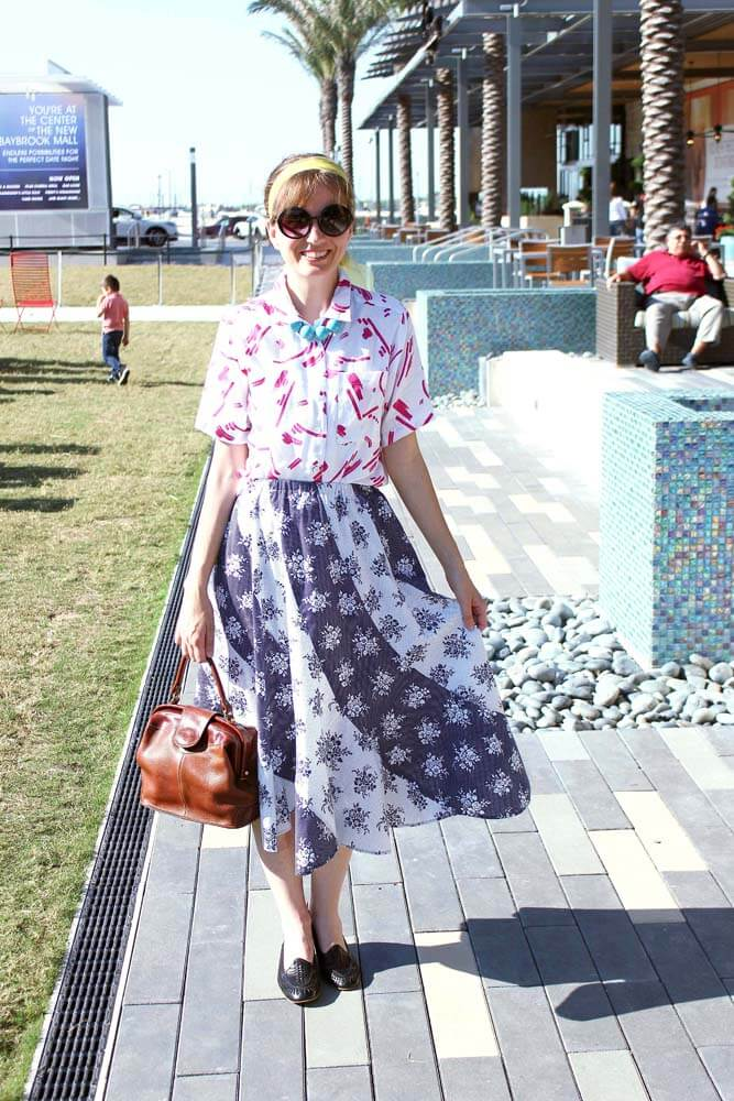 vintage clothing, blogger, outfit, skirt, print mixing