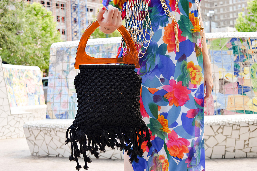 Outfit / Vintage Floral Caftan / LAFashionsnob /  macrame handbag