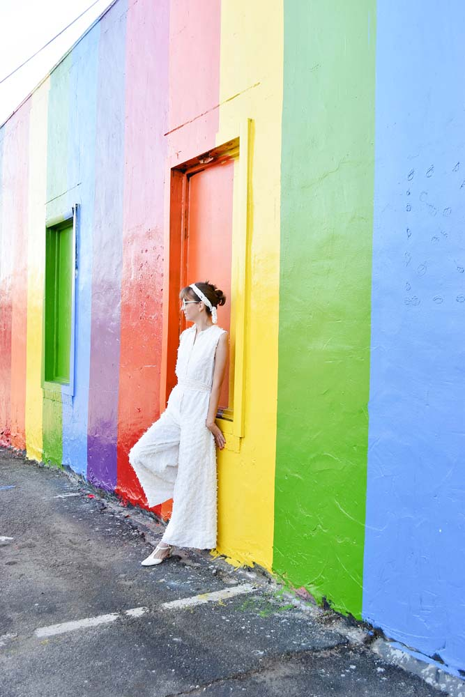 Pride Wall HTX / white jumpsuit / blogger / outfit / vintage clothing