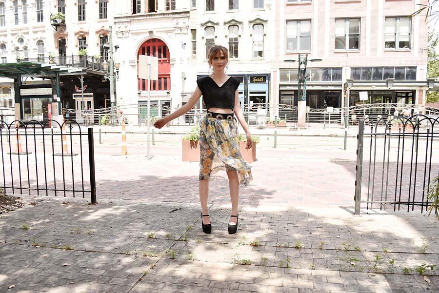 Steve Guthrie / Houston brand / Texas designer / floral print skirt