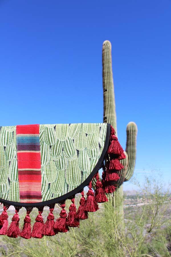 KisaKisa Cactus Clutch, made in Houston, Southwest print, desert, mountains