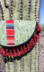 KisaKisa Cactus Clutch, made in Houston, Southwest print, desert, mountains