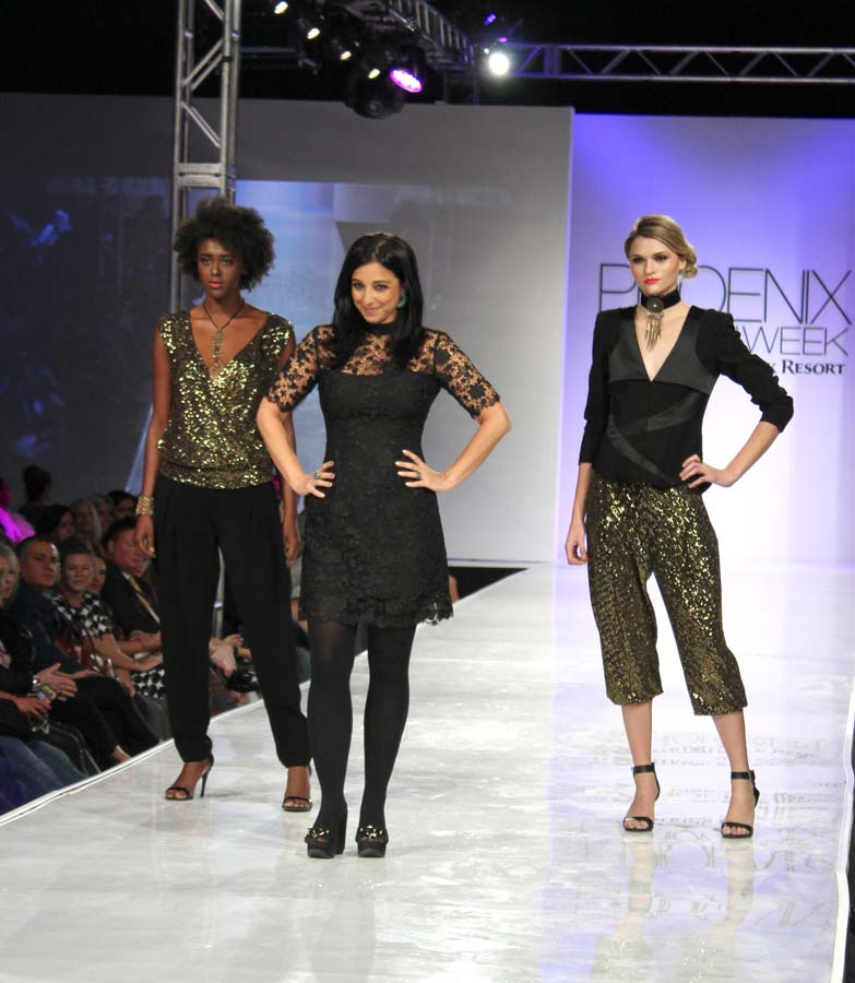 Mahsa designer with models.
