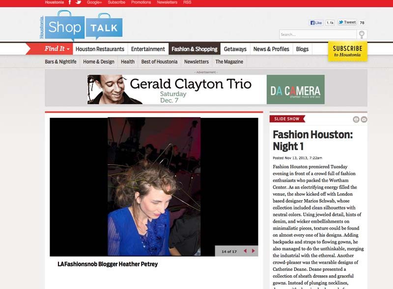 Shop Talk, Houston Chronicle, Press