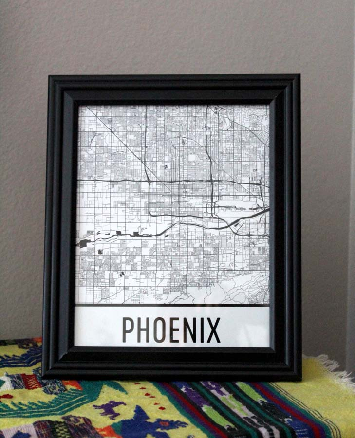 Modern Map Art, Map of Phoenix, home decor, Phoenix map