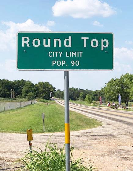 Round Top, TX sign.